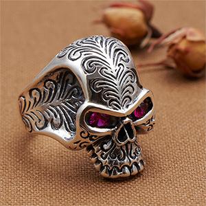 送料無料 メンズリング 指輪 シルバー925製 キュービックジルコニア ドクロ スカル 頭蓋骨モチーフ メンズ