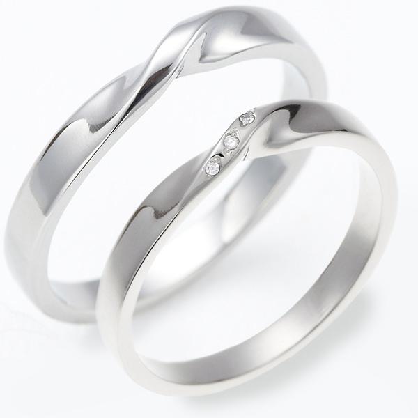 ペアリング 指輪 レディース メンズ サージカルステンレス ジルコニア3粒 ねじりライン 立体 低アレルギー オシャレ ギフト クリスマス 誕生日 送料無料