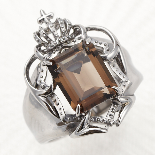 メンズリング 送料無料 指輪 シルバー925 スモーキークォーツ 王冠 盾