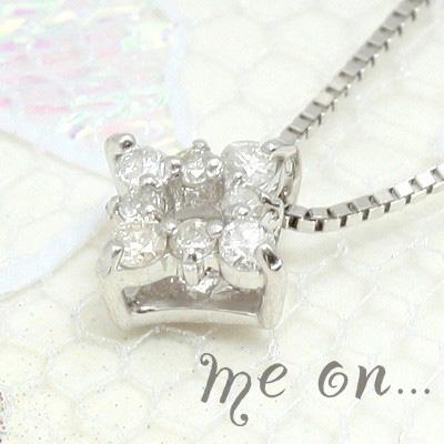 me on... 送料無料スマートデザインの美しさ◇K10ホワイトゴールド・ダイヤモチーフ・ダイヤモンドネックレス