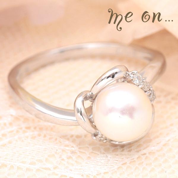 me on... 送料無料淡く優しく 純白の光をたたえる真珠の指輪◆K18ホワイトゴールド[WG]一粒パール&ダイヤモンドリング お届けまで2~3週間程度