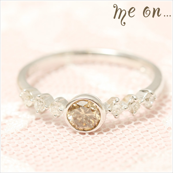 me on... 送料無料最高級の大粒0.5ctブラウンダイヤモンドが眩しい 限られた人のための気高き指輪◆K18ホワイトゴールド[WG]ラグジュアリー・ブラウンダイヤモンド&ダイヤモンドリング お届けまで2~3週間程度