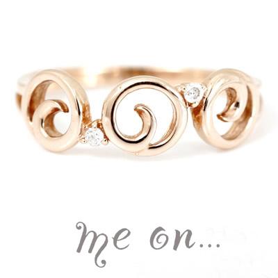 me on... 送料無料可愛いうずまきデザイン。不思議な魅力を放つクルクルクルリングK10ピンクゴールドダイヤモンド・ピンキーリング お届けまで2~3週間程度