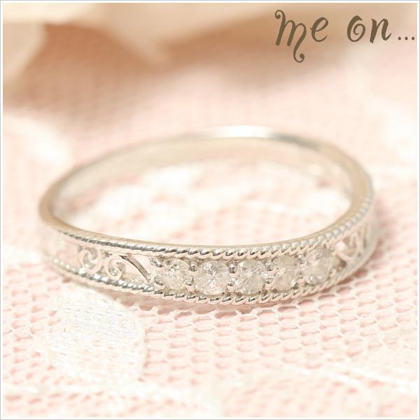 me on... 送料無料なめらかなラインに5粒のダイヤが輝く高貴の指輪◆K10ホワイトゴールド[WG]エレガントデザイン・ファイブダイヤモンドリング お届けまで2~3週間程度