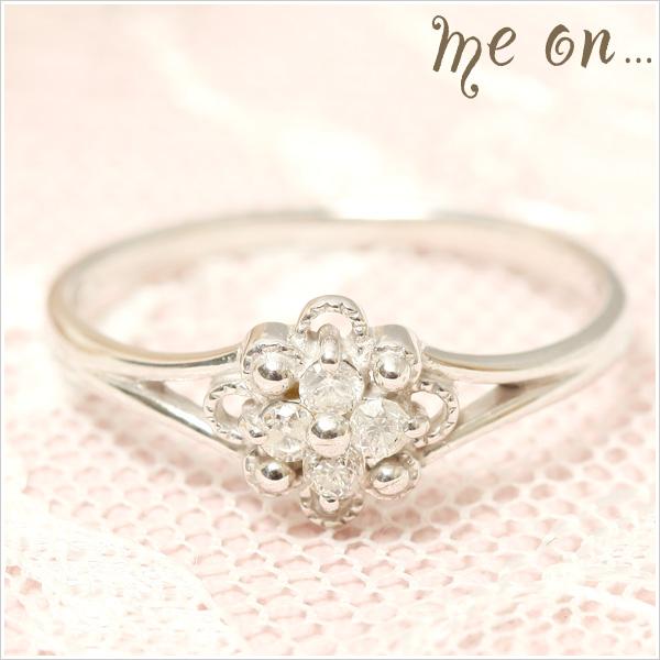 me on... 送料無料4粒のダイヤモンドが眩しいキュートな大人可愛い小花の指環◆K18ホワイトゴールド[WG]フラワーモチーフ・ダイヤモンドリング お届けまで2~3週間程度