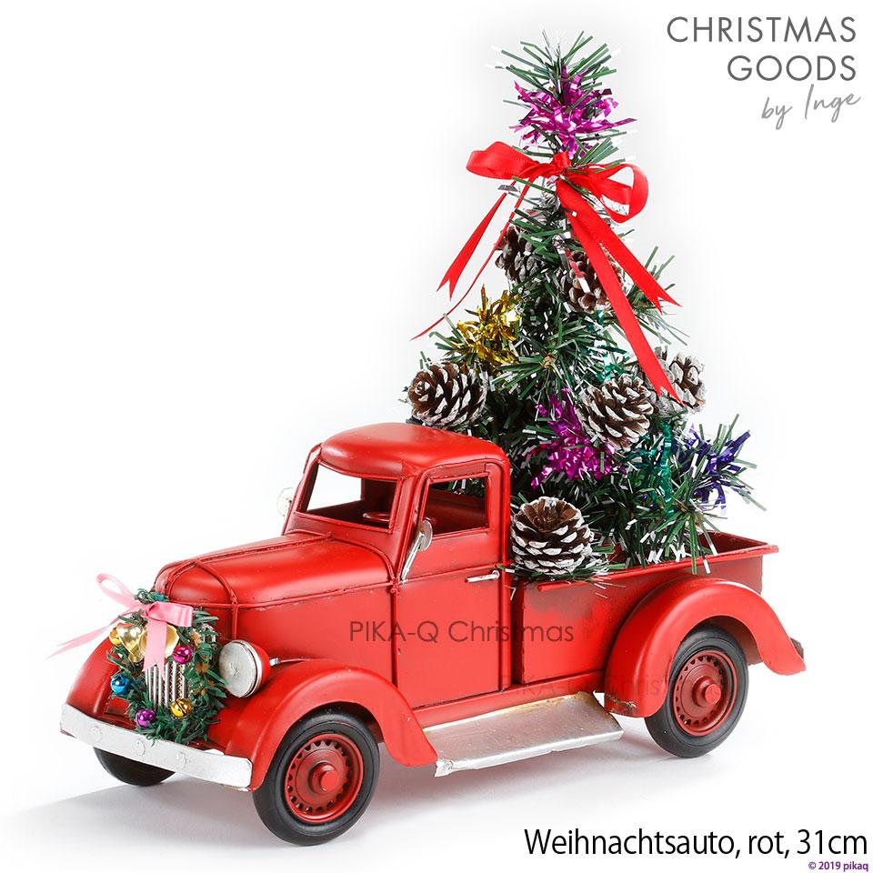 [カー][H]赤 レッド クリスマス オールドカー アンティーク加工 withリース、クリスマスツリー Christmas car, red, 31 cm, metal ヴィンテージカー 男性向けクリスマスプレゼント 彼氏へ 夫へ 父へ ドイツ直輸入 ヨーロッパ