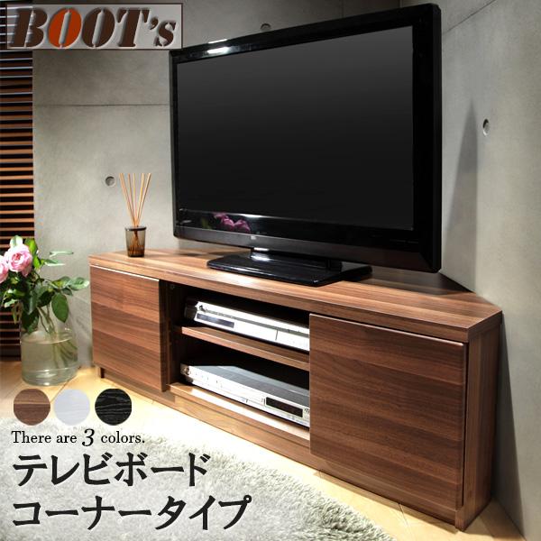 コーナー型テレビボード テレビ台 隠しキャスター付 TV台 ディスプレイラック リビングボード