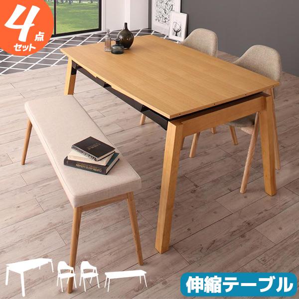 【4点セット】伸縮ダイニングテーブルとチェア2脚とベンチ1脚の4点セット テーブル幅140~240cm テーブルとチェアのセット ダイニングテーブルセット 4人掛け 新生活