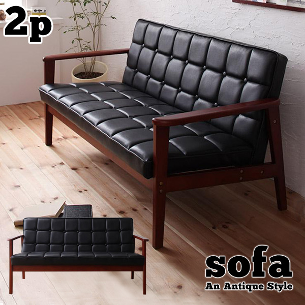 Two Seat Sofa Retro Vintage Leather Like Cafe Home Fixture Furniture Bycast Cutting Style Wood Elbow Antique