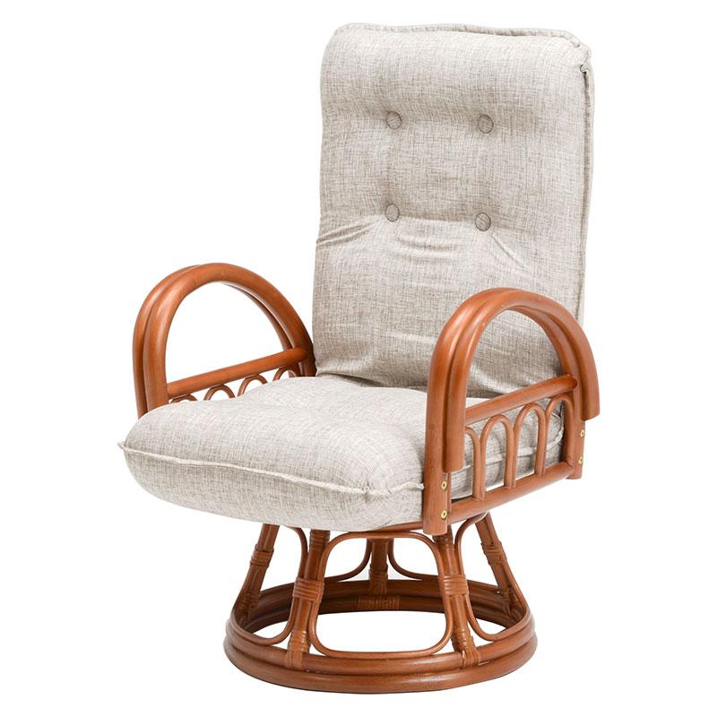 【送料無料】籐ギア付回転座椅子 RZ-1165BR (約)幅55×奥行56~84×高さ74~86×座面高38cm | 家具 おしゃれ インテリア チェア