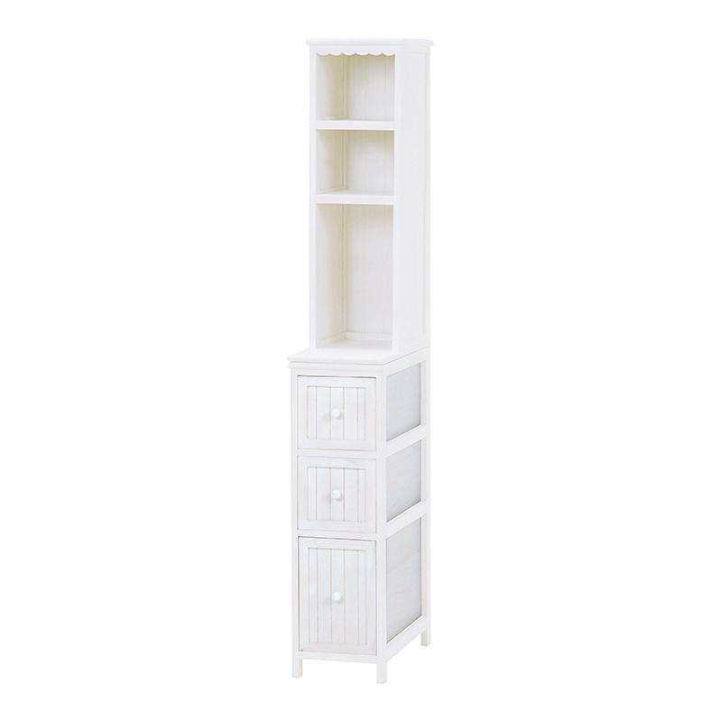 【送料無料】チェスト MCH-5671AW-S (約)幅25×奥行45×高さ160cm ■アンティークホワイト | 家具 おしゃれ インテリア 収納