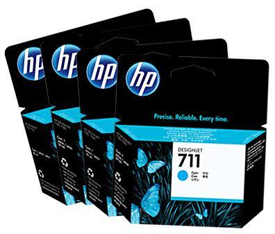 【送料無料】HP711 インクカートリッジ 純正 ブラック CZ129A 38ml + C/M/Y 各1 4色セット | エイチピー HP インク 純正 カートリッジ 新品 黒 キャッシュレス 還元