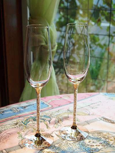 Pina Swarovski Champagne Gold 2 Piece Set Flute Rakuten