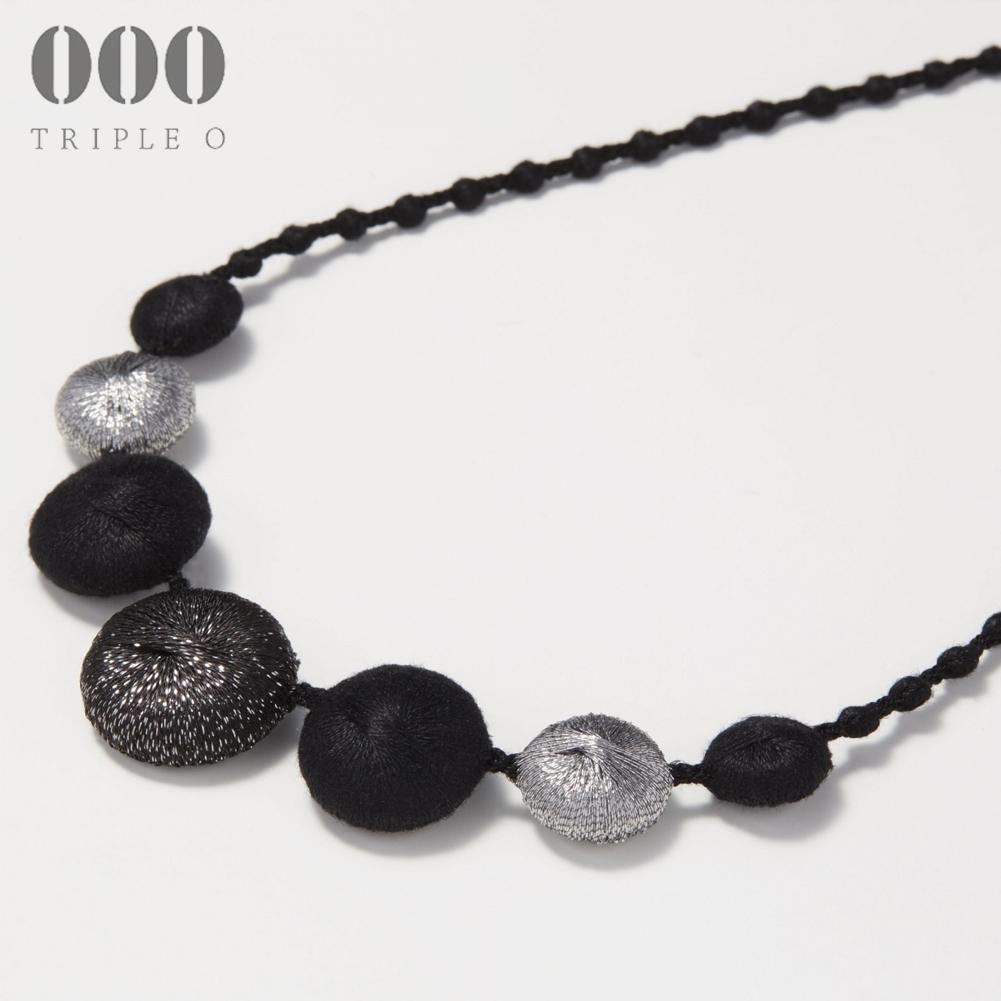【000/TRIPLE O】ネックレス ペブル トリオ(ブラック×ダークシルバー)PB004