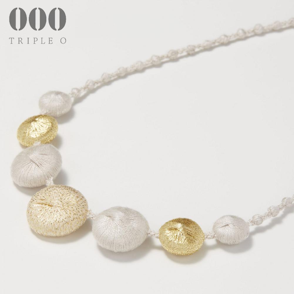 【000/TRIPLE O】ネックレス ペブル トリオ(ベージュ×ゴールド)PB004