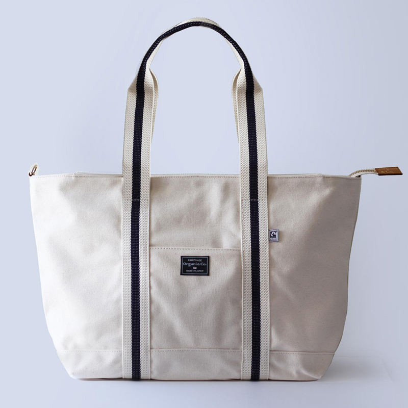 【オルガニコ/Organi & Co.】オーガニックコットン ラージトートバッグ/持ち手:ネイビーメッシュストライプ