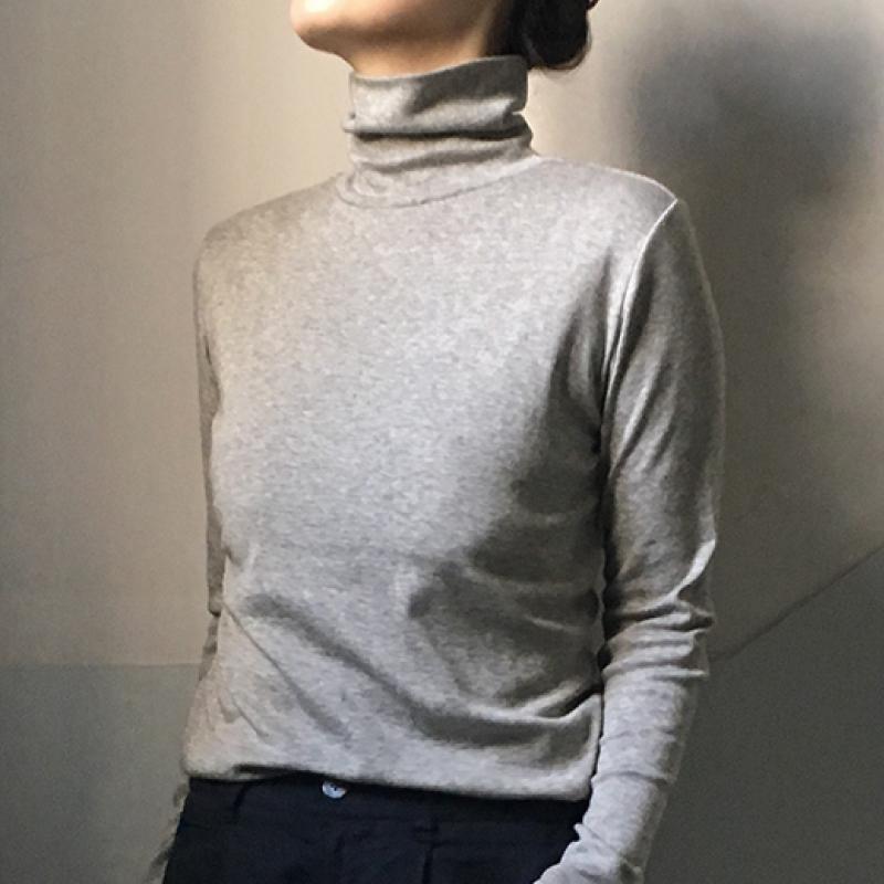 オーガニックコットン・ヤク混 フライス タートルネック長袖Tシャツ【ORGANIC GARDEN】