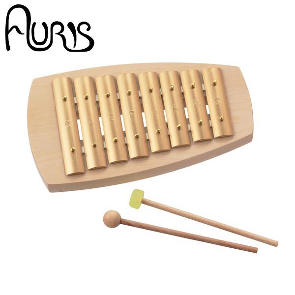 かまぼこ型の小さな鉄琴。ダイヤトニック音階の、美しく澄んだ透明な音が響きます。 【AURIS】アウリス シェルズグロッケン ダイヤトニック8音[AUKAD008]