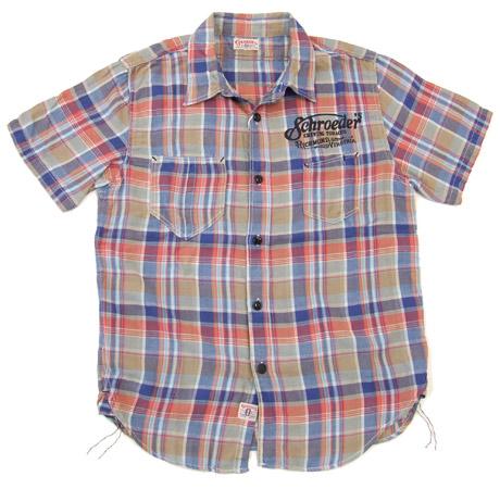 グルーヴァーズ チェック ワークシャツ groovers グルーバーズ メンズ 半袖シャツ 3511002 #72青系 新品