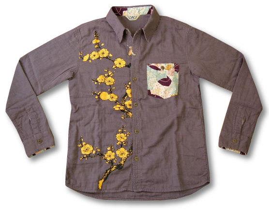 ちきりや 長袖シャツ チキリヤ 紅梅柄 メンズ 和柄 ガーゼ素材 mm5165 紫 新品
