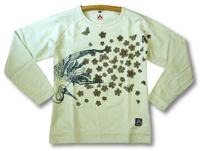 CHIKIRIYAチキリヤちきりや和柄長袖Tシャツ/乱れ桜とツル柄/MM2311象牙(オフ白)新品