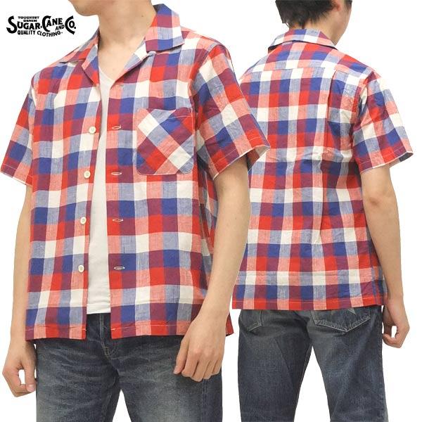 シュガーケーンライト オープンシャツ ブロックチェック 東洋エンタープライズ メンズ 半袖シャツ sc35891 #165赤 新品