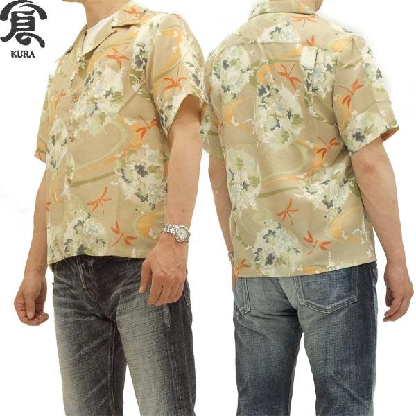 備中倉敷工房 アロハシャツ 縮緬 和柄トンボ柄 メンズ 半袖シャツ 24111 ベージュ 新品
