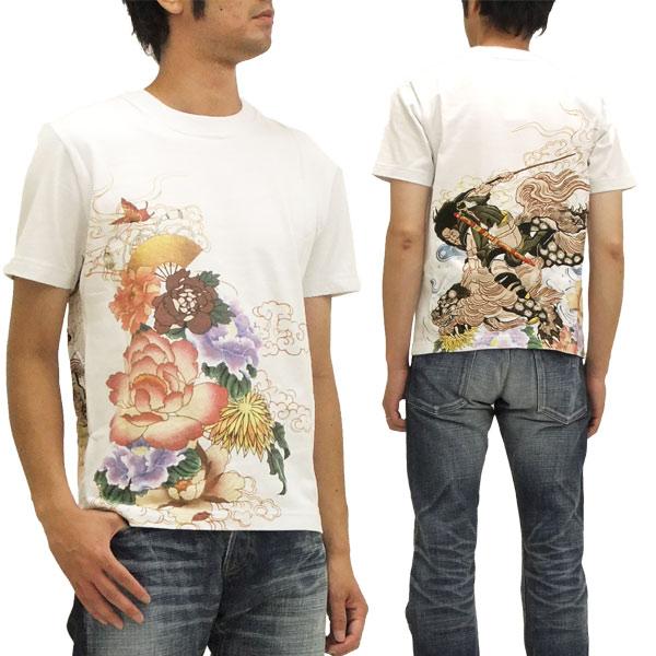 百花繚乱 Tシャツ 牡丹と獅子 メンズ 和柄 半袖tee (分厚い生地です) 03520603 白 新品