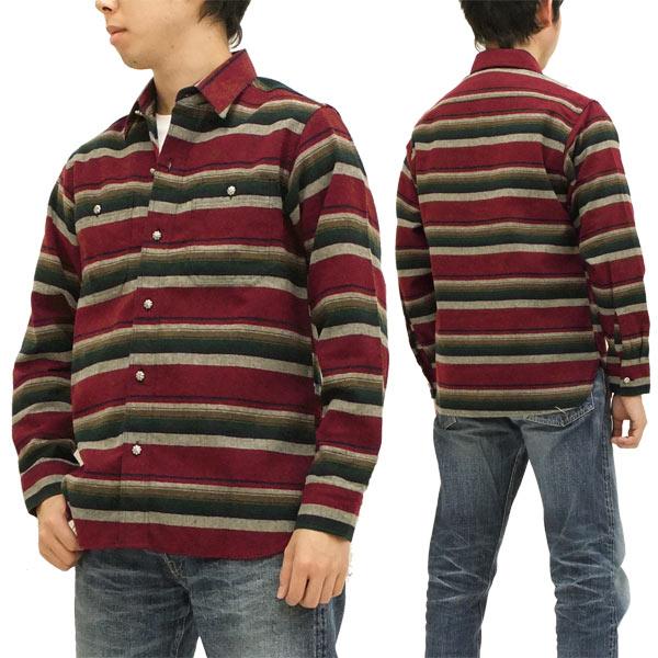 インディアンモーターサイクル ボーダー ワークシャツ 東洋エンタープライズ メンズ 長袖シャツ im25960 #165赤 新品