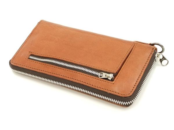 ロングウォレット ウォッシャブルレザー 三方ファスナー メンズ 財布 サイフ PI-2837 キャメル 新品