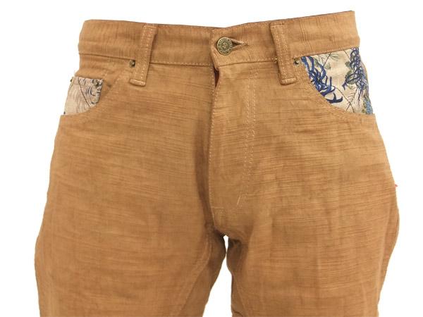 准备冈山县仓敷 Kobo 柿汁染粗斜纹棉布裤子松直日本模式男式牛仔裤 25488 品牌的新