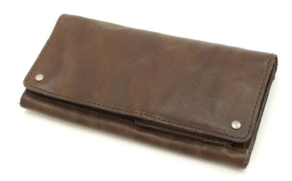 メンズ ロングウォレット 牛革製ウォッシャブルレザー 長束財布 サイフ PI-2844 こげ茶 新品