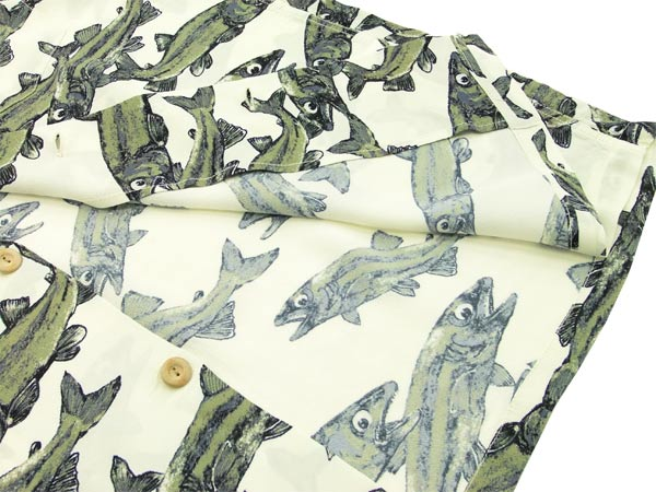 薩姆衝浪 Aloha 廓爾喀襯衫國家鱒魚魚又名夏威夷 keoni 東方企業 ss36211 白色全新