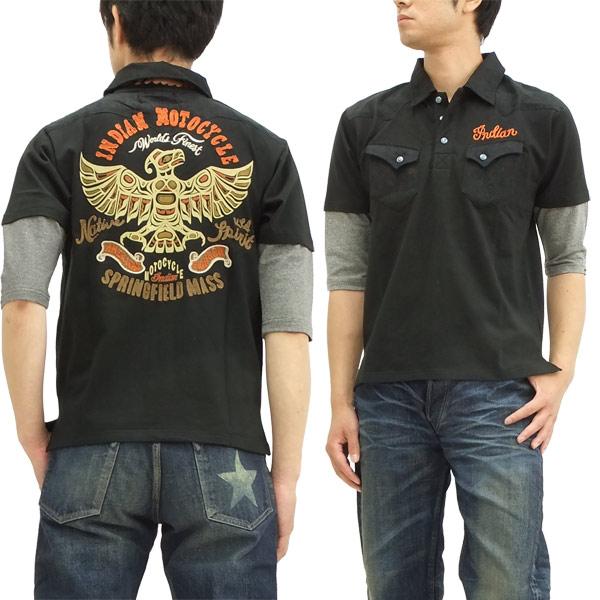 インディアンモトサイクル 6分袖 ポロシャツ フェイクレイヤード メンズ 六分袖 POLO imps-312 ブラック 新品