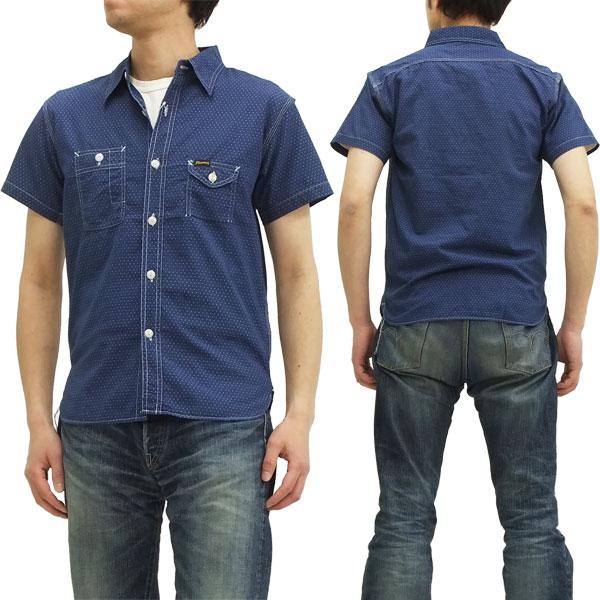 フェローズ ワークシャツ 14S-750WSS-W インディゴウォバッシュ pherrows メンズ 半袖シャツ ピンドット 新品