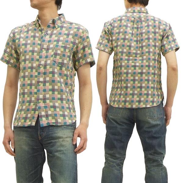 フェローズ チェックボタンダウンシャツ 14S-PBDS2 二重織り pherrows メンズ 半袖シャツ マルチ 新品