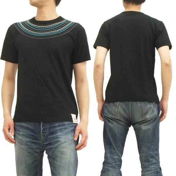 インディアンモーターサイクル Tシャツ IM76603 ネイティブ 刺繍 東洋エンタープライズ メンズ 半袖tee ブラック 新品