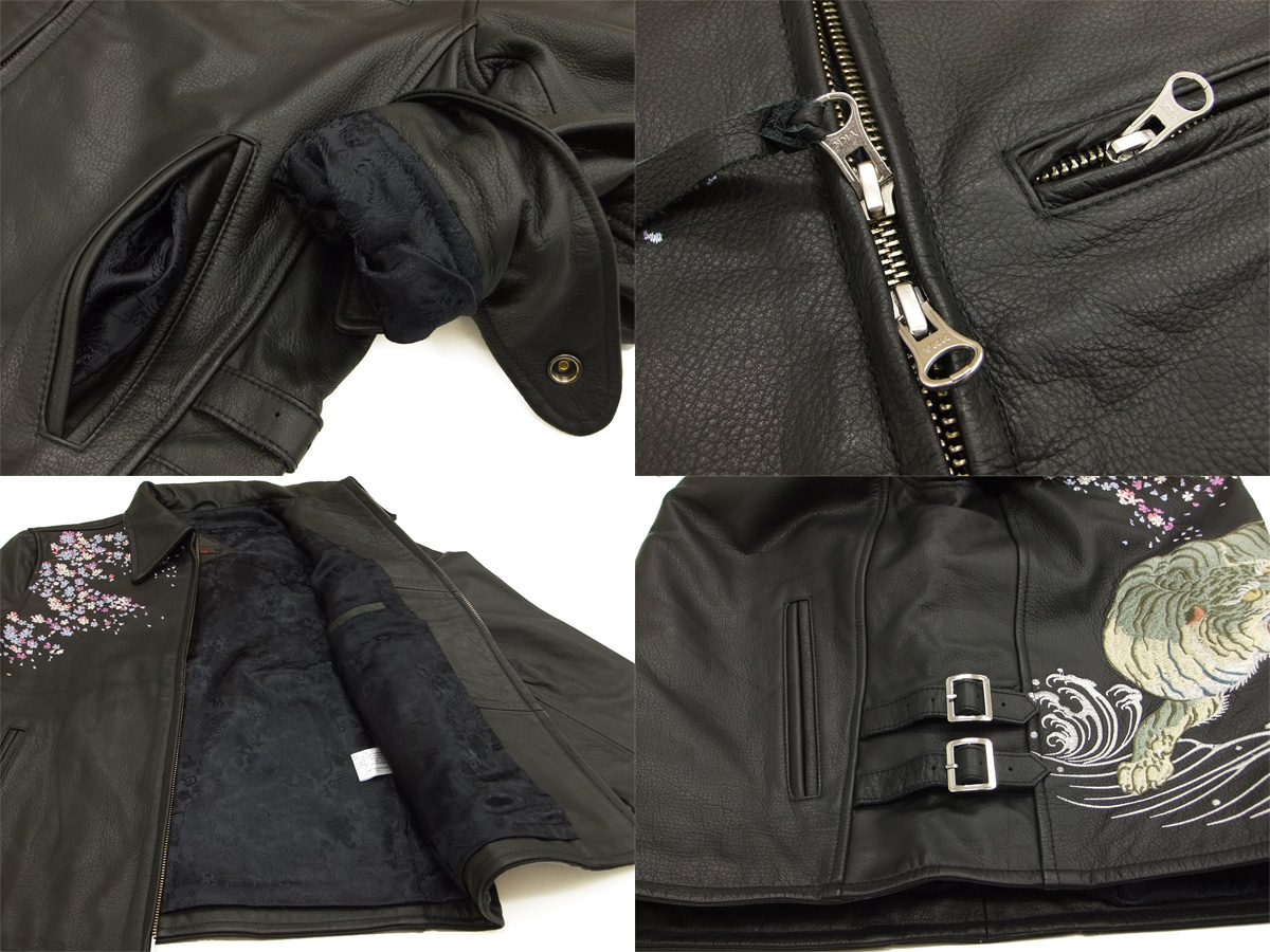 禪悟皮夾克 GLRJ-003 櫻桃白老虎刺繡禪悟男性日本模式 JKT 黑色新品牌