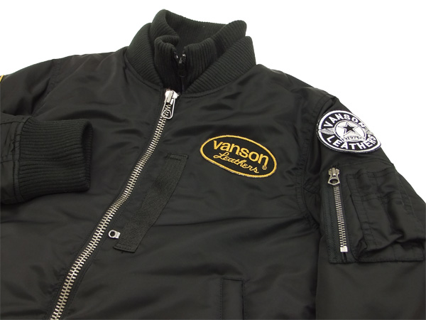 Vanson MA-1 Flight Jacket Men's Bomber Jacket NVJK-401star Black