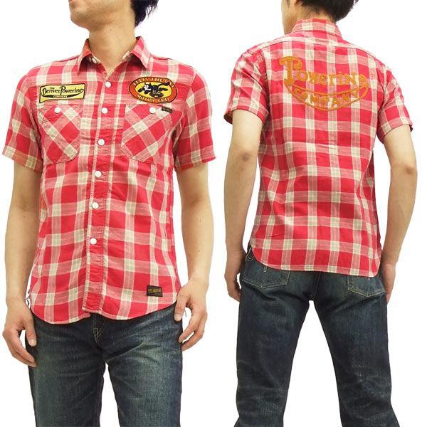 トイズマッコイ チェックワークシャツ TMS1511 FELIX THE CAT TOYS McCOY メンズ 半袖シャツ #091レッド 新品