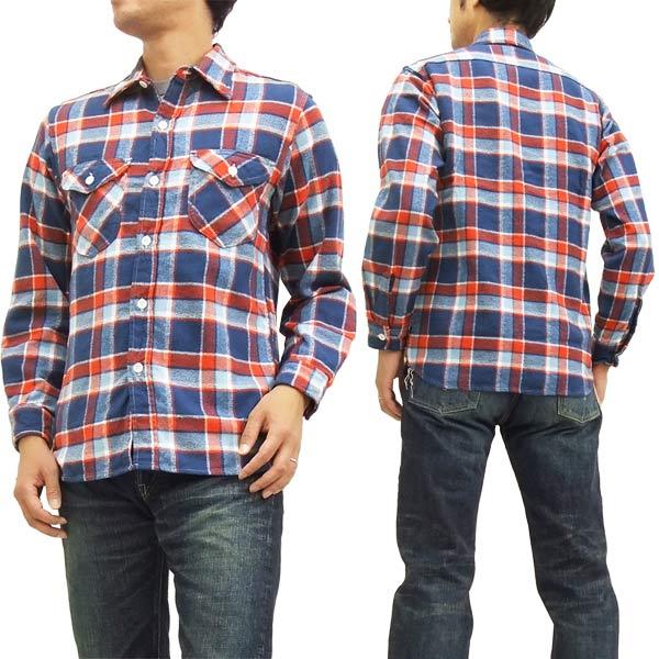 シュガーケーン チェック ワークシャツ SC27070 Sugar Cane メンズ ネルシャツ 長袖シャツ ブルー 新品