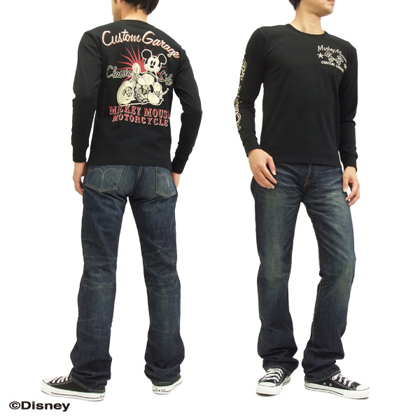 LOW BLOW KNUCKLE Long Sleeve T-shirt 595510 Mickey Mouse men's black brand-new from Japan
