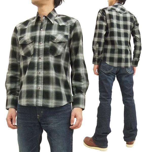 インディアンモーターサイクル ウエスタンシャツ IM27165 東洋エンタープライズ オンブレチェック メンズ 長袖シャツ #119ブラック 新品