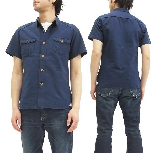 ステュディオ・ダルチザン 無地 ワークシャツ 5557 メンズ 半袖シャツ インディゴ 新品