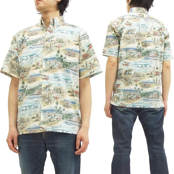 レインスプーナー アロハシャツ Plantation Days メンズ 半袖シャツ 125-1975 C/#03タン 新品