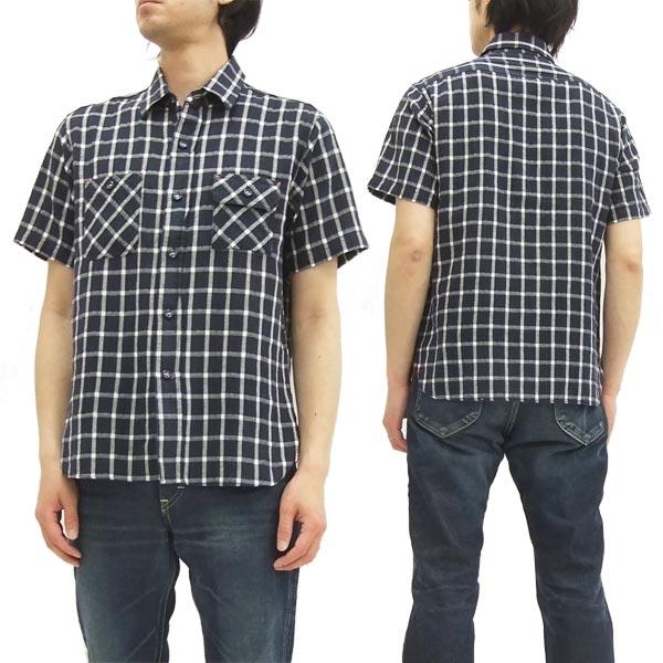 シュガーケーン ライト ワークシャツ SC37303 パナマチェック メンズ 半袖シャツ #128ネイビー 新品