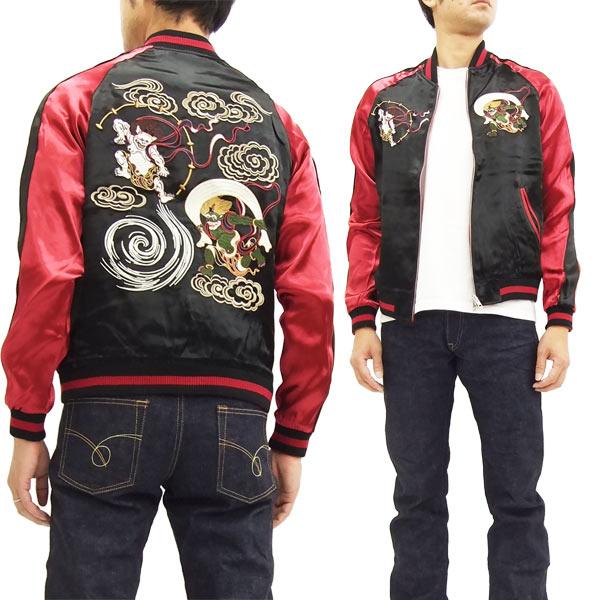 ジャパネスク スカジャン 3RSJ-003 風神雷神 Japanesque メンズ スーベニアジャケット ブラック 新品