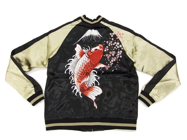 股本柳光 3RSJ-022 腾跃鲤鱼图案日式男装纪念品夹克黑色新