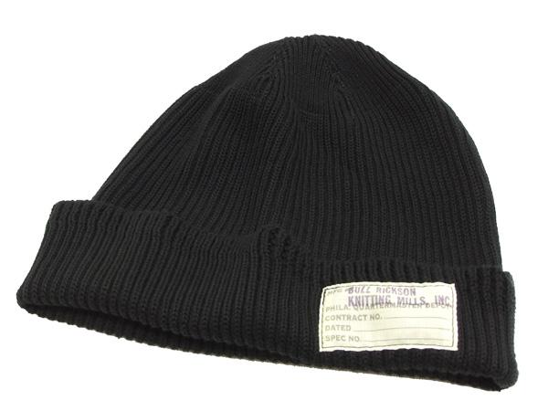 バズリクソンズ BR02186 コットンニットキャップ メンズ ワッチキャップ ニット帽 帽子 ブラック 新品