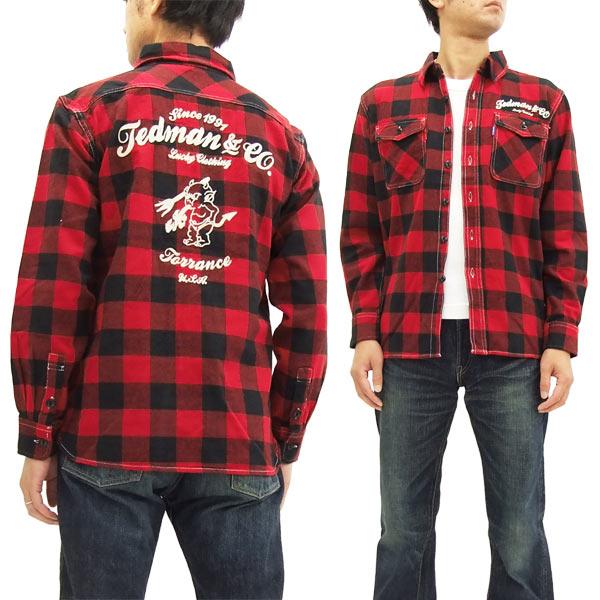 テッドマン ネルシャツ TNS-600 TEDMAN メンズ チェック 長袖シャツ 赤×黒 新品